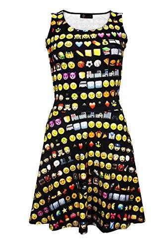 Damen-Kleid, ausgestellter Rock, Schwarz mit Emoji-Smileys Gr. S/M, Schwarz  (Emoji-kleider Für Frauen)