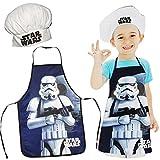 alles-meine.de GmbH 2 TLG. Set: Kinderschürze + Kochmütze -  Star Wars - Stormtrooper  - Größenverstellbar - fleckabweisend - Schürze / Jungen - beschichtet - Kochschürze / Gri..