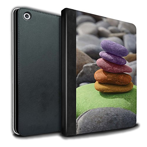 �lle/Case/Brieftasche für Apple iPad 9.7 (2017) Tablet/Auswuchten Steine Muster/Innerer Frieden Kollektion ()