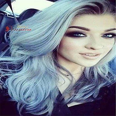 ich vordere Perücke hitzebest?ndigen Haar volle Perücke ombre Farbe 1b/grau mittlere Kappe au (Perücken Au)