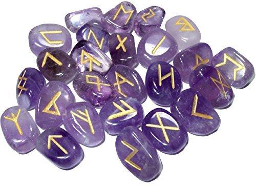 Violet Pierres Améthyste Naturelles Panoplie Rune Healing Reiki Tumble Stones Pouch 25 PC