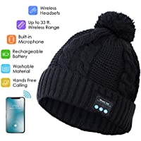 Bluetooth Hat Beanie, Music Hat with Pom Pom, Wireless Bluetooth Winter Hat Built-in HD Stereo Speakers & Microphone with Rechargeable USB for Winter Fitness Outdoor Sports, for Family