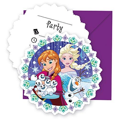 12-teiliges Einladungskarten-Set * FROZEN - SCHNEEFLOCKE * für Disney-Kindergeburtstag // 6 Einladungskarten plus 6 Umschläge // Kinder Geburtstag Party Mottoparty Einladung Plates Mädchen Prinzessin Disney Snow Snowflake Schnee