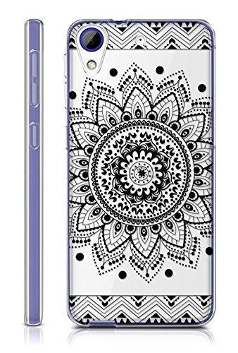 Sunrive HTC Desire 650/628 / 626 / 626G Hülle Silikon, Transparent Handyhülle Schutzhülle Etui Case Backcover für HTC Desire 650/628 / 626 / 626G(TPU Blume Schwarze)+Gratis Universal Eingabestift