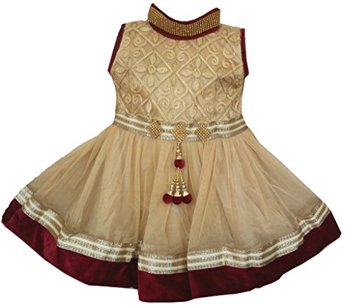 All About Pinks' Baby Girls Ethnic Embellished Dress (190710BM16_Gold & Maroon_ 9 - 12 Months)
