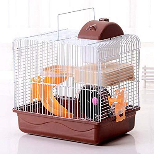 Träger Laufrad (FXQIN Doppelschicht-Hamsterkäfig, tragbarer Hamster-Outdoor-Träger, mit Trinkflasche und Laufrädern, für die Reise Kleiner Tiere, Braun)