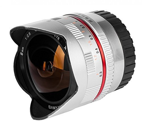 Samyang F2.8 - Objetivo ojo de pez para cámaras Fuji X (enfoque manual, 8 mm), color plateado