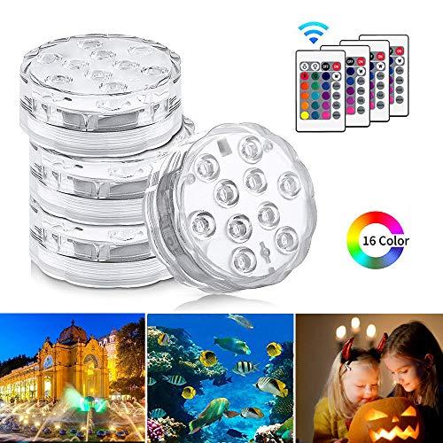 Unterwasser Licht, KIPIDA Unterwasser LED RGB Fernbedienung Multi Farbwechsel Wasserdichte LED Unterwasserlicht für Halloween, Weihnachten, Schwimmbad, Fish Tank Hochzeit Vase Beleuchtung, 4 Stück