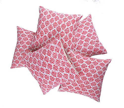 Jaipur Classic Premium Cushion Covers 100% Cotton Hand Printed Set of 5 | 40x40 cm 16x16 inches