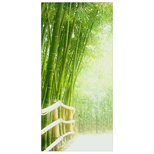 Flächenvorhang Set Bamboo Way Bambus Pflanzen Natur Asien Blätter 250x120cm | Schiebegardine Schiebevorhang Raumtrenner Vorhang Raumteiler Gardine Paravent Wandbild XXL Deko Dekor Größe: 250 x 120cm inkl. transparenter Halterung - 4