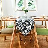 Camino de mesa Corredores de mesa de estilo chino azul y blanco borla de porcelana de lino a prueba de polvo cubierta de tela decoración del hogar corredores de cama Decoración hogareña ( Size : 30*180cm )