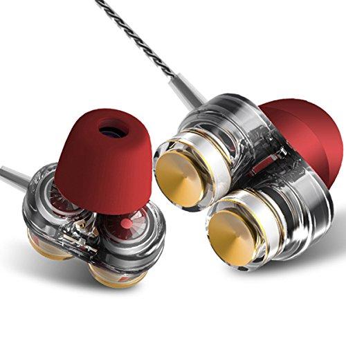 TYWZF Kopfhörer Kopfhörer, Bass Sport Kopfhörer Stereo Ohrhörer Noise Cancelling in Ohr Kopfhörer Lauf Ohrhörer mit Mikrofon,Red
