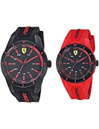 Ferrari 0870019 - Reloj de Cuarzo para Hombre, de plástico y Silicona, Color Rojo
