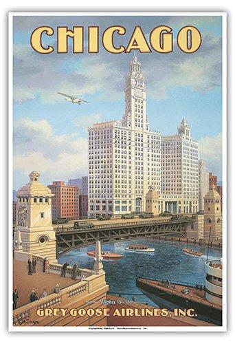 Pacifica Island Art - Chicago, Illinois - DuSable Brücke (Michigan Avenue Brücke) - Graugans Fluggesellschaft - Retro Flugreise Plakat von Kerne Erickson - Kunstdruck 33 x 48 cm
