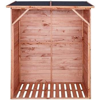 Portalegna da giardino - color legno - con rivestimento esterno protettivo e parete posteriore - capienza 1,15 m³