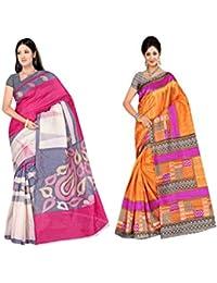 Winza Designer Womens Bhagalpuri Printed Cotton Silk Daily Wear With Blouse Saree