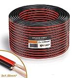 Manax-Cable de Altavoz (2x 1,50mm², CCA, Rojo/Negro Rollo de 50m