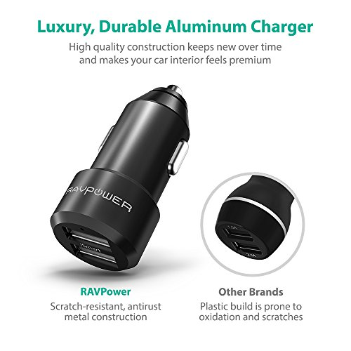 Car Charger RAVPower USB Car Adapter Chargers with 12V 24W 4.8A 2-port for iPhone XS/XR/XS Max, Galaxy S9, LG, Nexus, HTC with iSmart 2.0 Tech – Black