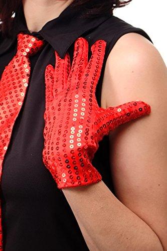 Show Game 70's Kostüme (DRESS ME UP - Handschuhe Fasching Karneval Revue Cabaret Pailletten Rot 20er 70er 80er)