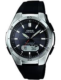 Casio Herren Armbanduhr WVA-M640–1AER Quarz solarbetrieben Combi-Funkarmbanduhr mit Schwarzer Analog-/Digital-Anzeige und schwarzem Band aus Kunstharz