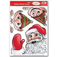 Beistle Santa and Elves Peeper Clings, 12-Inch by 17-Inch Sheet