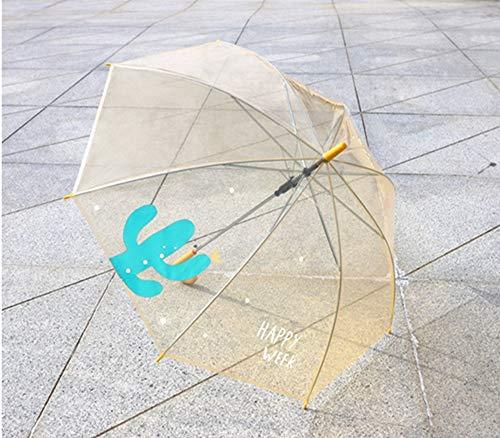 GUANHONG Transparente Farbe POE Kind Farbe Pflanzen geraden Griff Regenschirm gebogenen Haken Griff Langen Griff Regen Student Damen Boutique Winddicht Regenschirm (Poe Für Kinder)