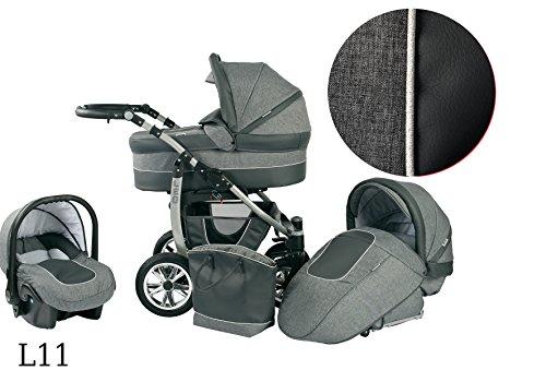 Kinderwagen Babywagen Kombikinderwagen Baby Merc LEO 3 in 1 Komplettset mit Zubehör 0-3 Jahre 0-15 kg Insektenschutz Netz Wickeltasche Regenschutz Getränkehalter Buggy Autositz (L11 grau)