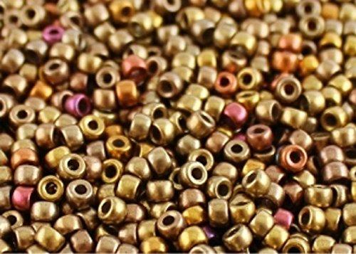 8/0 MATUBO - 10 gr Ceco Perline di vetro, Perle di Rocailles 3.1 mm, colore: Crystal Gold Rainbow
