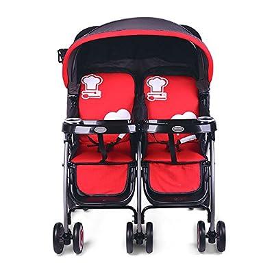 QFFL Carretilla alta para niños con paisaje / Carro doble / Plegables ultraligeros / No solo puede sentarse todavía puede mentir Coche de niño
