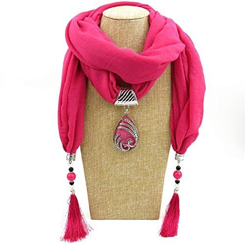 Frauen Seide Stricken (WDYBXYL Frauen Mode Quaste Schal Schmuck Anhänger Halskette Schals H)