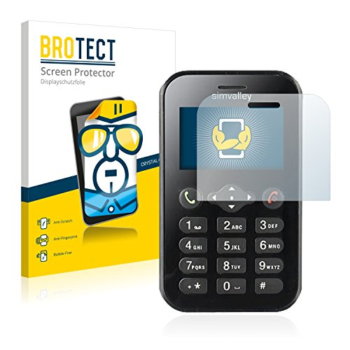 BROTECT Schutzfolie kompatibel mit Simvalley Mobile RX-484 Pico [2er Pack] klare Bildschirmschutz-Folie