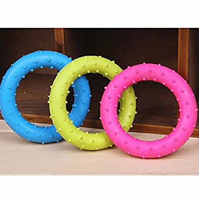 Rubber Pet Cat Round Circle Puppy Play Funny Chewing Toy Cute Random Color Non-Toxic Tranining Dog