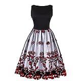 Kleider Damen A-Line Vintage 1950er Gestickt Cocktailkleid Ärmellos Retro Abendkleid Schwingen Pinup Rockabilly Kleid Große Größen Partykleid 3XL