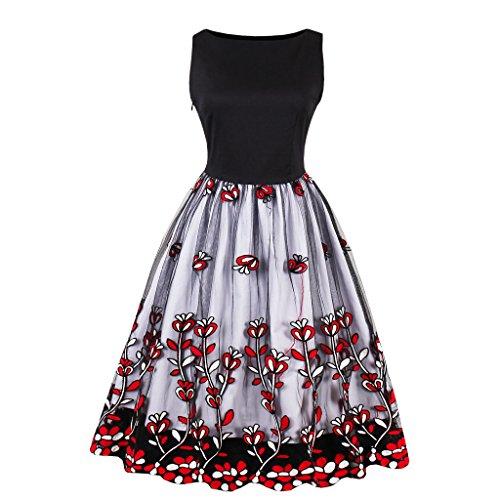 Kleider Damen A-Line Vintage 1950er Gestickt Cocktailkleid Ärmellos Retro Abendkleid Schwingen...