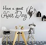 Haben Sie eine große Frisur Friseursalon Shop Wand Applique Frisur Friseur Schönheit Mode HaarschnittWandaufkleberVinyl ArtDeco 56x24cm