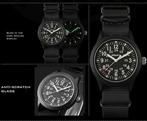 INFANTRY® Analoges Quarzwerk Armbanduhr Schwarz Herrenuhr Quarz Analoguhr Outdoor Militär Uhr G10 Nylon Uhrband - 3