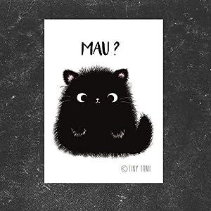 "Katzen Aufkleber""Mau?"" Kater MOO Sticker Miau – schwarze Katze – Tiny Tami"