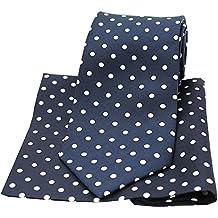 Soprano azul y blanco de seda diseño de lunares con impresión de colibríes y bridas de pañuelo juego de funda de