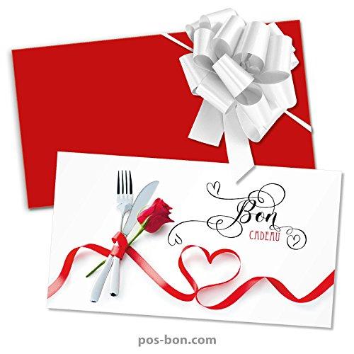 100 Bons cadeaux + 100 enveloppes + 100 noeuds rubans pour restaurants, bistrots, gastronomie G12021F