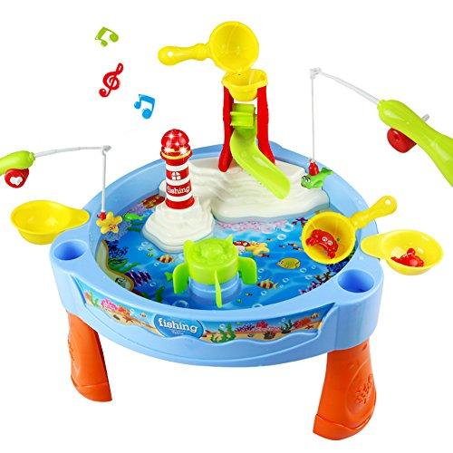 Kinder Spieltisch Wassertisch Wasserpark mit Fisch Angeln Spiel für Kinder ab 3 Jahre Alt,31,5 x 17 cm (W x H)
