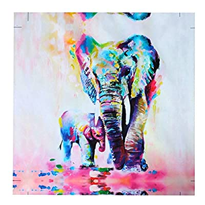 MOHOO Unframed Canvas Watercolor Elephant Canvas Print Painting Wall Art Home Decoration, 50x50cm (Unframed - ready to be Mounted) - inexpensive UK light shop.