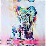 Mohoo 60x60cm Cuadros pintados de acuarela del elefante Pintura decorativa por casa dormitorio y oficina
