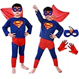 Fancy Steps Superman Costume with Gloves and Mask Superhero Costume, 5 Years (Multicolour)