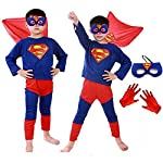 Fancy Steps Complete Superman Costume with Gloves and Mask, 4 Years (Multicolour)