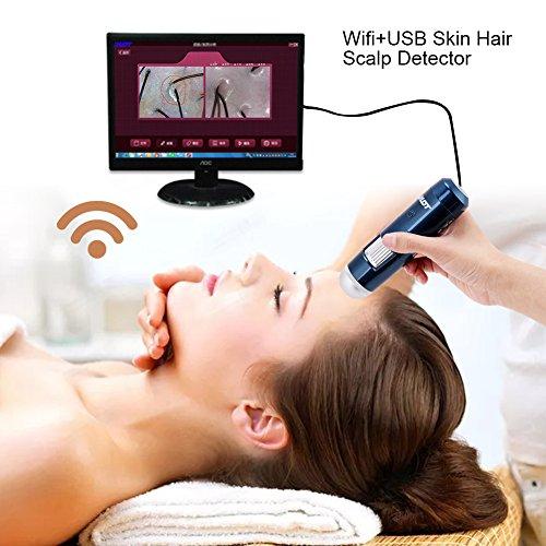 USB der Haut 5–200x Wireless WLAN + Rauchmelder haupthaares des Digital Mikroskop mit Leder der Kamera des Analysegerät 200MP (EU)