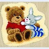 6 Modell Bär Knüpfteppich Formteppich für Kinder und Erwachsene zum Selber Knüpfen Teppich Latch Hook Kit child Rug Bear415 53 by 38 cm