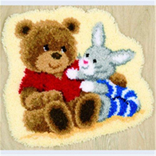 Beyond Your Thoughts Bär Knüpfteppich Formteppich für Kinder und Erwachsene zum Selber Knüpfen Teppich Latch Hook Kit Child Rug Bear415 53 * 38 cm -