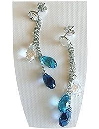 BrendaStyle Bijoux Boucles d'Oreilles Pour Femme Avec Cristal SWAROVSKI Elements - Argent 925/1000 Rhodié