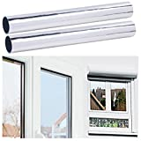infactory Fensterfolie: 2er-Set Selbsthaftende Isolier-Spiegelfolie, Sicht-/UV-Schutz, 40 cm (Sonnenschutz Spiegelfolie)