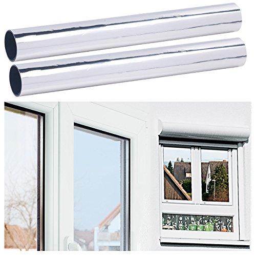infactory UV Folie: 2er-Set Selbsthaftende Isolier-Spiegelfolie, Sicht-/UV-Schutz, 40 cm (Tönungsfolie)